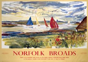 Norfolk Broads, Sailing. BR (ER) Vintage Travel Poster by Raymond Piper. 1963